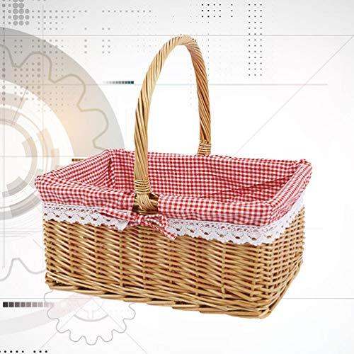 YARNOW Picknickkörbe | Natürlich Gewebter Handgewebter Weidenkorb mit Griffen | Osterkorb | Lagerung von Plastik-Ostereiern Und Ostersüßigkeiten Veranstalter Decke Lagerung | Bad