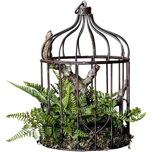 DXIUMZHP Estatuas Adornos De Exhibición De Decoración De Plantas Verdes, Adornos De Jaula De Pájaros De Hierro Forjado, Planta De Simulación De Flores Florales Micro Paisaje