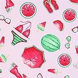 Hellrosa Stoff mit Wassermelonen-Accessoires von Timeless