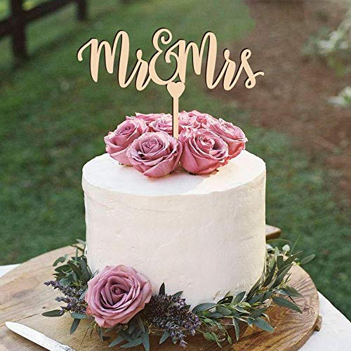 Yoin Mr&Mrs Bruiloft Taart Topper, Bruid En Groom Bruiloft Taart Topper, Douche Party Decor Jubileum Glitter Zilver Goud Taart Topper