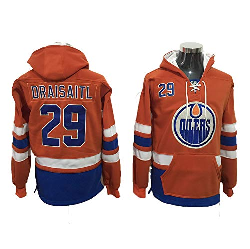 Yajun Kapuzen Pullover Hoodie NHL Leon Draisaitl#29/Zack Kassian#44 Edmonton Oilers T-Shirt Sweatshirt Warme LangäRmlige Und Bequeme Eishockeytrikots Orange,29,S