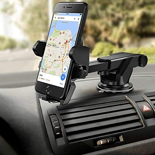 HOJI Smart Universal Phone Holder, Mobile Stand for Car (Car Mount) with Quick One Touch Technology (Expandable & Rotatable) with Double Shift Locking for Windscreen, Dashboard & Table Desk (Black).