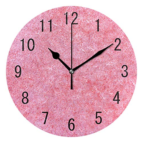 Use7Home Decor Acryl Rund Pink Brick Wall Wanduhr Geräuschlos Silent Uhr Kunst für Wohnzimmer Küche Schlafzimmer