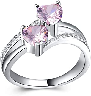 CHARHODEN White gold plated Women Zircon Double pink Heart Shaped Gemstone Ring -7