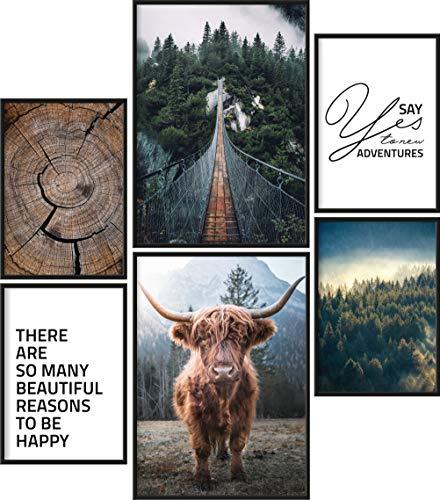 Poster Set Wildnis | 6 fertig gerahmte Bilder in schwarzen Holzrahmen | 2X DIN A3 und 4X DIN A4 | Galloway Natur Wald Holz