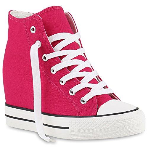 stiefelparadies Damen Sneakers Keilabsatz Sneaker-Wedges Stoffschuhe Schnürer 139813 Pink 40 Flandell