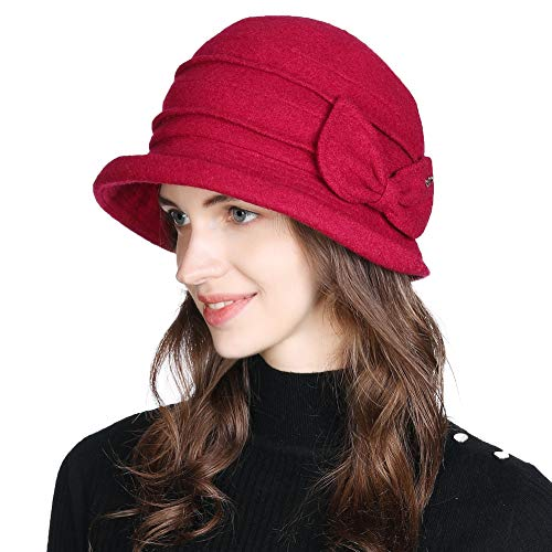 Winter Cloche Bucket Hat for Women Wool Elegant 1920s Vintage Fedora Bowler Church Derby Party Ladies Red