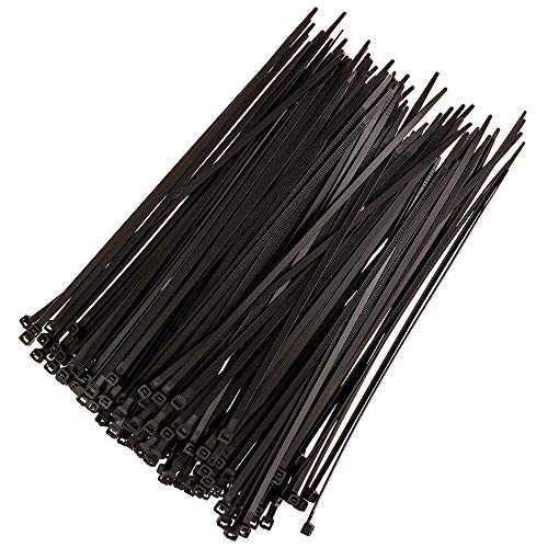DTOL 100pcs Cable Zip Ties Heavy Duty 8 Inch, Premium Plastic Wire Ties with 50 Pounds Tensile Strength, Self-Locking Black Nylon Tie Wraps for Indoor and Outdoor