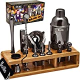 Black Mixology Bartender Kit Cocktail Shaker Set by Barillio: Drink Mixer Set with Bar Tools, Sleek Bamboo Stand, Velvet Carry Bag & Recipes B