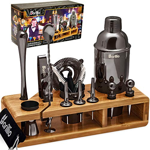 Black Mixology Bartender Kit Cocktail Shaker Set by Barillio: Drink Mixer Set with Bar Tools, Sleek Bamboo Stand, Velvet Carry Bag & Recipes Booklet