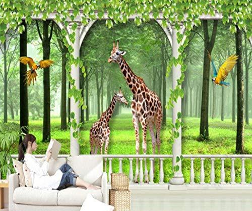 GLLCYL 3D Tapete Wandaufkleber Sticker Dekorative Wilde Tiere Selbstklebend Tapete Wohnkultur Wandtattoo - 200x140cm Silk Cloth wandtapeten