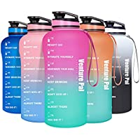 Venture Pal Leakproof BPA Free Half Gallon/64oz Motivational Water Bottle with Time Marker & Removable Strainer