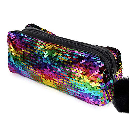 Glitter Cosmetic Bag Mermaid Spiral Reversible Sequins Portable Double Color Students Pencil Case for Girls Women Handbag Purse Make Up Pouch with Pompon Zip Closure(Rainbow with Gold)