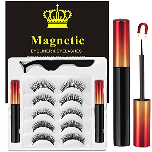 Faux Cils Magnétique, 5 Paires De Cils Magnétique Peuvent être Réutilisés, Ensemble De Faux Cils Avec Eye-Liner Magnétique Sans Colle