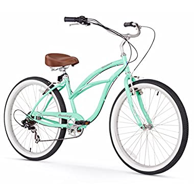 Firmstrong Urban Lady 7-Speed 26  Beach Cruiser Bicycle, Mint Green w/Brown Seat