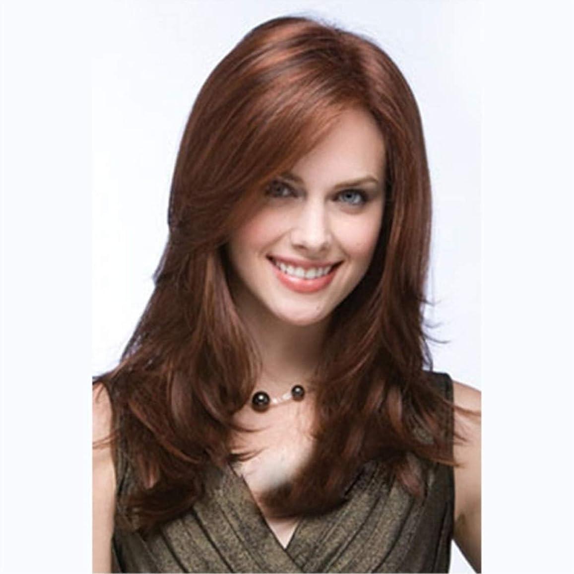 勃起チーム調べるKoloeplf かつら斜め前髪ブラウンロングカーリーヘアーロングナチュラルウェーブミドルパート合成かつら用女性耐熱性