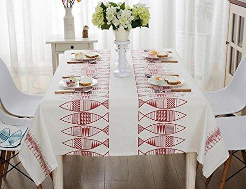 GAOJIAN Coton Linge Bleu Petite Tissu De Poisson Tissu De Table Mode Fraîche Salon Rectangulaire Table De Café Toile Serviette En Toile , 100*140cm , a
