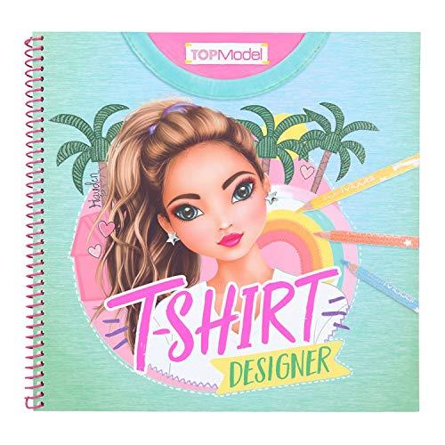Depesche 11502 TOPModel - T-Shirt Designer Malbuch, 60 Seiten zum Designen eigener Entwürfe, inklusive Schablone und 2 Stickerbogen