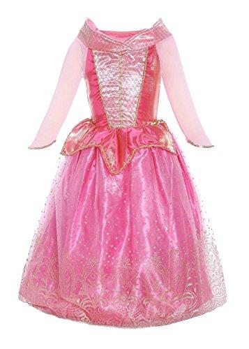 Katara 1709 Belle au Bois Dormant Robe d'Aurore - Tenue de Princesse de Contes de Fées - 4-5 Ans, Rose, Ornaments Dorés