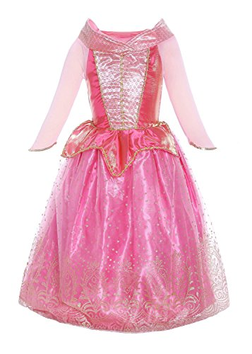Katara 1709 - Disfraz de Princesa Aurora La Bella Durmiente Vestido de Carnaval Cumpleaños - Niñas 6-7 Años, Color Rosa