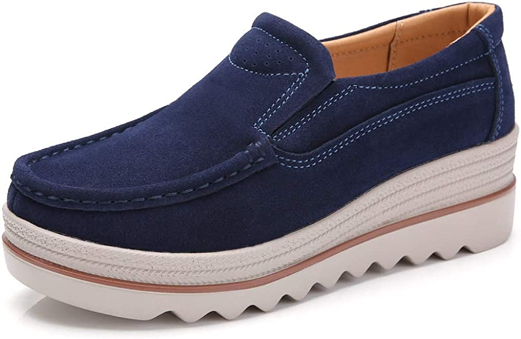 JOYBI Women's Nippon regular agency Platform Long-awaited Shoes Comfort Width Wide Moccas Suede Cow