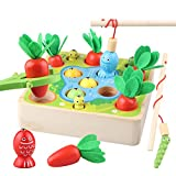 Sunarrive 3-in-1 Angelspiel aus Holz - Fische Angeln Spiel Holzspielzeug - Montessori Motorik Spielzeug - Motorikspielzeug - Lernspielzeug - Lernspiele -...