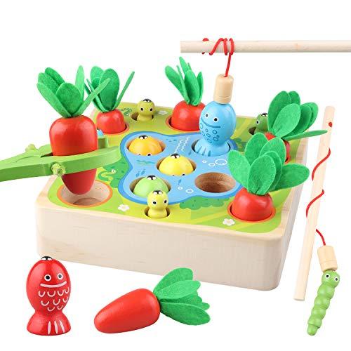 Sunarrive 3-in-1 Angelspiel aus Holz - Fische Angeln Spiel Holzspielzeug - Montessori Motorik Spielzeug -...