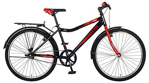 Benotto MRHSTR2601UNNE – Bicicleta de Acero Rodada R26, Hombre, Frenos V, 1 Velocidad, color negro y rojo