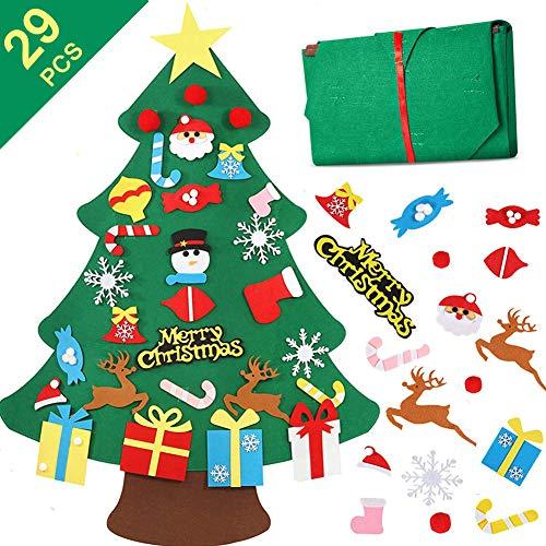 Filz Weihnachtsbaum, Lintimes 3.2ft DIY Weihnachtsbaum mit 29 Stück abnehmbare Ornamente Wand Dekor Für Kinder Weihnachten mit hängenden Seil