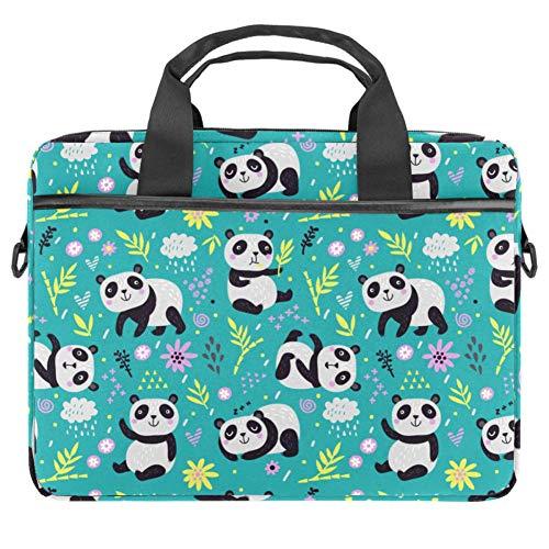 Laptop Shoulder Bag 15 Inch Briefcase Document Messenger Bag Business Handbag with Handle & Shoulder Strap Cute Panda Bamboo