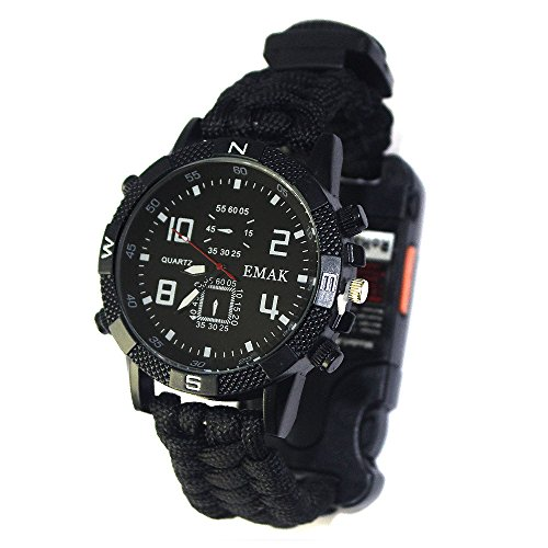 Tentock Multifunktionale Survival Bracelet Watch, Paracord-Uhr im Freien All-in-One for Camping Trekking(schwarz)