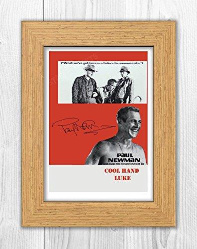 Engravia Digital Cool Hand Luke Reproduction Signed Film Poster Starring Paul Newman A4 Print(Oak Frame)