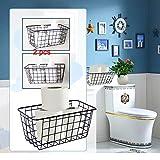 Toilet Paper Baskets for Bathroom Toilet Paper Basket Holder for Bathroom Toilet Paper Basket Storage Toilet Paper Basket Black Toilet Paper Holder Basket Kitchen Storage Basket Adhesive 2pcs