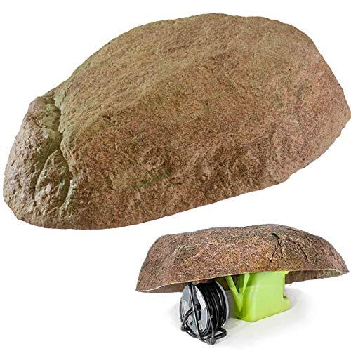 GARTENDEK Piedra Grande Decorativa para el Jardín Exterior, Roca Artificial Hueca y Falsa para el Diseño de Patio, Oculta Utilidades, Cubre 100 Centímetros XL-04, Rojo