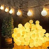 HOTLIKE Guirnalda Luces, Cadena de Luces 5M 50 LED, 2 Modos, Fairy String Light Pilas Luces Decoración para Navidad Interior y Exterior, Habitacion, Jardín, Boda, Fiesta, Festival (Blanco Cálido)