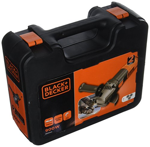 Black + Decker beg210kac3-qs amoladora angular mango 3posiciones, 900W, Negro/Naranja