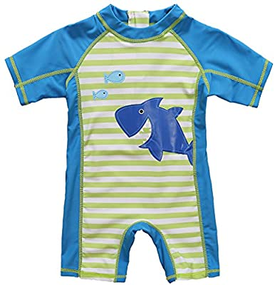 UPF 50+ Baby Beach One-Piece Swimsuit - Uv Sun Protective All in one,Blue(Fulfilled By Amazon),12-18 Months
