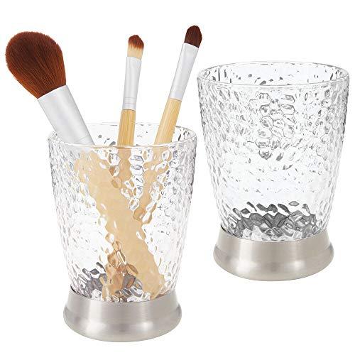 mDesign Juego de 2 porta cepillos decorativos en plástico – Vaso para...