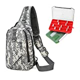 YLINSHA Fishing Tackle Bag, Fishing Bags with Tackle Boxes,Two Combinable Fishing Tackle Boxes, Suitable for Outdoor Cycling, Freshwater, Saltwater Fishing (Black Camouflage)