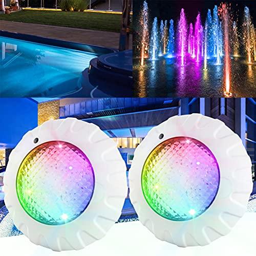 Ankishi 38W LED Sommergibili Luci Piscina con RF Telecomando, IP68 Impermeabile, RGBW Luce per Laghetto, AC/DC 12V Outdoor Luci per Piscina a Immersione per La Cerimonia