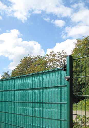 Sichtschutz/Windschutz in grün oder anthrazit - 500 cm Länge - Verschiedene Höhen - passend für Stabmattenzaun - aus äußerst robusten HDPE Kunststoffgewebe (Sichtschutz L 500 cm H 160 cm Grün)
