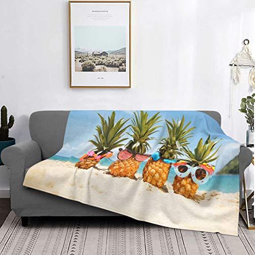 Personalizado Lana Manta,Gafas de Sol Piñas Summer Beach,Sala/Cuarto/Sofá Cama Franela Edredón Manta de Tiro,60' X 50'