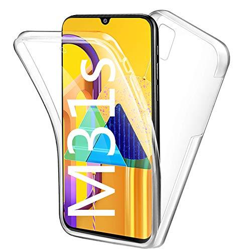 HUANGTAOLI Cover per Samsung Galaxy M31s, Custodia 360 Gradi Protezione Trasparente Ultra Sottile in Silicone TPU Anteriore e PC Indietro (SM-M317F/DS, 6.5')