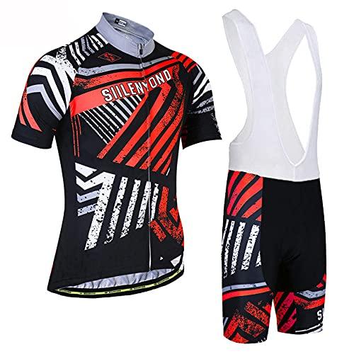 HXTSWGS Jersey de Ciclismo Transpirable para Hombre, Ropa de Bicicleta de Manga Corta, Camiseta de MTB Superior para Bicicleta, Transpirable Summer-A07_S