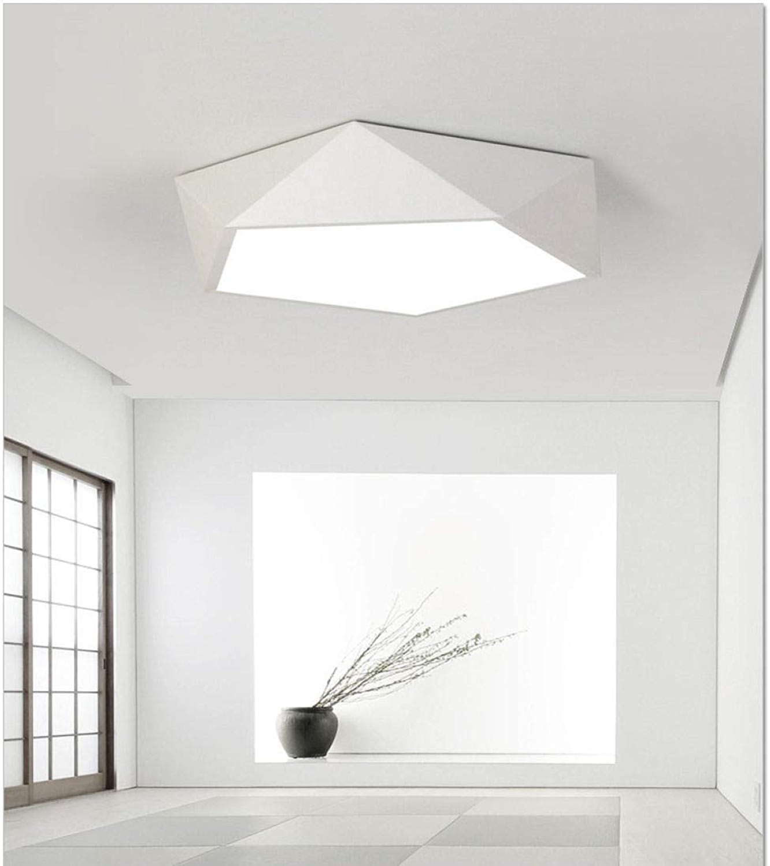 Plafonnier géométrique LED simple chambre créative lampe en trois diPour des hommesions moderne salon lampe personnalité lampe étude lampe-36W shell blanc