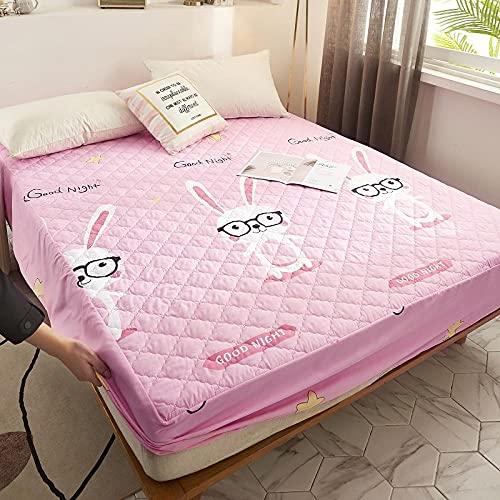 XGguo Protector de colchón Acolchado - Microfibra - Transpirable - Funda para colchon estira hasta Impresión de una Sola Pieza de sábana Impermeable-3_120 * 200cm