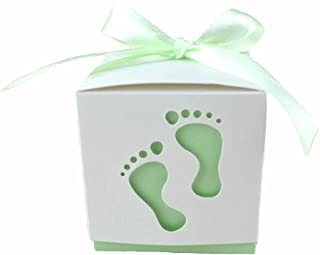 Crazy Night 50PCS Laser Cute Baby Shower Party Birthday Decorations Gift Boxes Wedding Favor Ribbons Candy Boxes Candy Box feet Shape Party (Green)