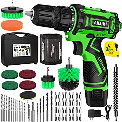 AILUKI Cordless Drill Driver Kit,67Pcs 12V Drill Set Lithium-Ion Battery,Magnetic Wristband Brushes Tape Measure,Max Drill 280 In-lb Torque,3/8'' Keyless Chuck,25+1 Metal Clutch and Built-in LED