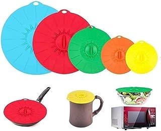 Voarge Silikonowe pokrywki, garnki, patelnie, filiżanki i kuchenki mikrofalowej, do użytku w kuchence mikrofalowej, zatwie...