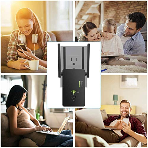 Repetidor WiFi 1200Mbps Amplificador Señal WiFi Banda Dual 2.4GHz y 5GHz Extensor de Red WiFi Enrutador Inalámbrico Punto Acceso con Ap/Repeater/Router Modos, 4 Antenas,, 2 Puerto LAN/WAN, WPS